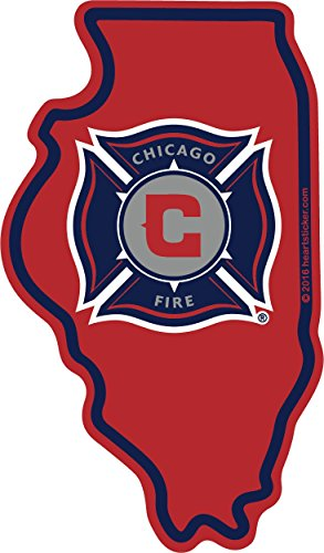 (Chicago Fire Sticker Vinyl Decal Label Stickers, Die-Cut Shape for Water Bottle Laptop Luggage Bike Laptop Car Bumper Helmet Waterproof Show Love Pride Local Spirit. 312 MLS Soccer)
