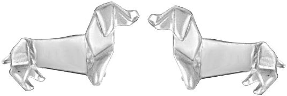 Boma Jewelry Sterling Silver Origami Dachshund Wiener Dog Stud Earrings