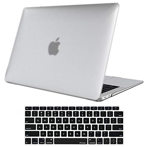 ProCase MacBook Air 13 Inch Case 2018 Release A1932, Rubber Coated Hard Shell Case for MacBook Air 13-inch Model A1932 with Keyboard Skin Cover - Matte Clear