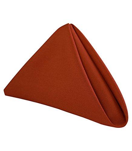 "Royal Crest Sigmatex - Lanier Textiles 100% Murata Jet Spun (MJS) Polyester Cloth Napkins, 20"" x 20"" Finished Size, 12 Pack (Rust)"