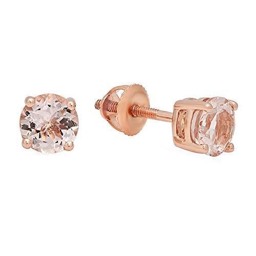 14K Rose Gold Round Cut Morganite Ladies Solitaire Stud Earrings