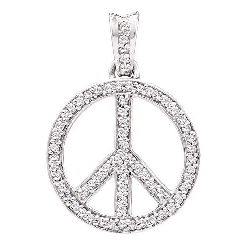 The Diamond Deal 10kt White Gold Womens Round Diamond Peace Sign Circle Pendant 1/4 Cttw