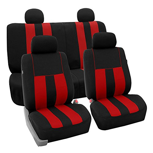 Striped Car Seat Cover - FH GROUP FH-FB036114 Striking Striped Full Set Car Seat Covers (Airbag & Split Ready) Red / Black Color - Fit Most Car, Truck, Suv, or Van