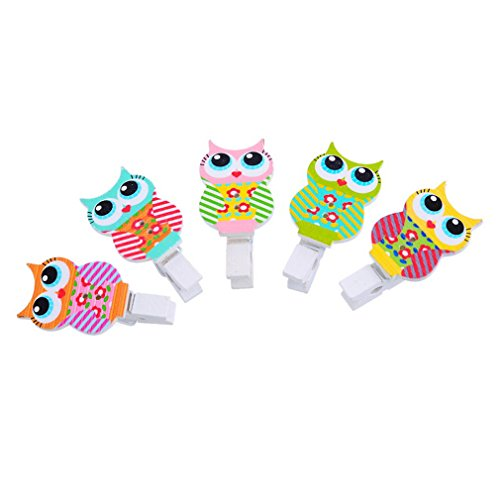 Souarts Mixed Random Owl Wood Wooden Clothespins for Game Favors Craft Pack of 30 -