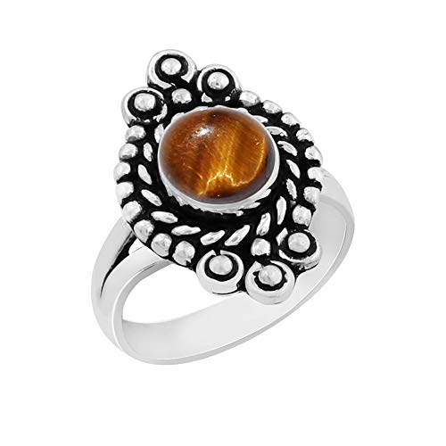 (Genuine Round Shape Tiger Eye Solitaire Ring 925 Silver Plated Vintage Style Handmade Oxidized Finish for Women Girls (Size-8) )
