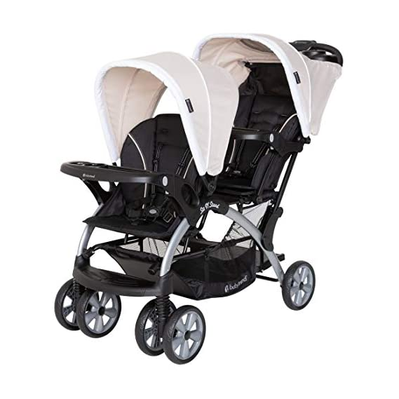 Baby Trend Sit N' Stand Compact Easy Fold Unisex Toddler Baby Double Tandem Stroller Convertible Travel System for