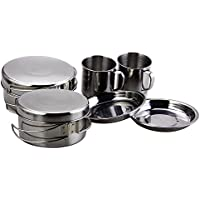 BeGrit Stainless Steel 8pcs Backpacking Camping Cookware Set