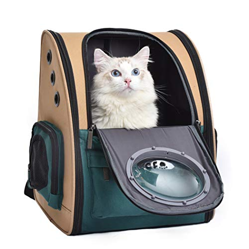 JerryCat Pet Canvas Backpack Carrier, Cat Puppy Breathable Travel Carrier w/Ventilated Space Capsule, Airline Approved