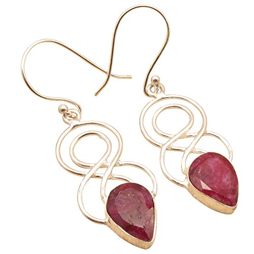 Cut Red RUBY Earrings, 925 Sterling Silver Plated ONLINE SALE SHOPPING Wholesale Price - Shopping International Online