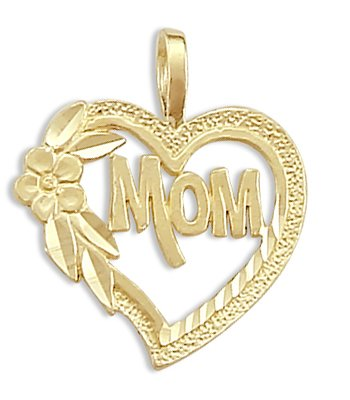 MOM Heart Flower Pendant 14k Yellow Gold Charm 14k Yellow Gold Mom Charm