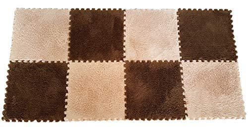 Interlocking Foam EVA Mat Fleece Carpet Flooring by Homeneeds (9 Pieces, Chocolate & Sand Fleece Mat) (Rug Jigsaw)