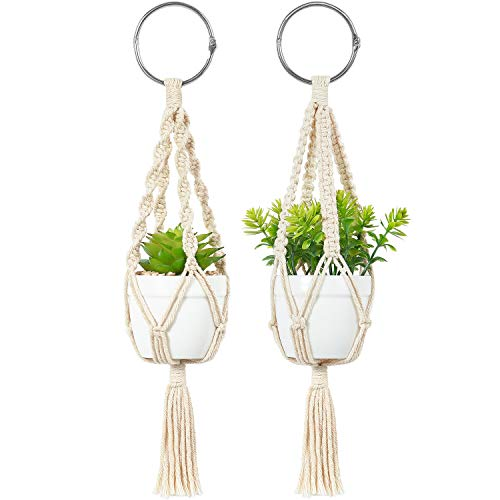 Mkono Mini Macrame Plant Car Hanging 2 Pcs Handmade Rear View Mirrior Charm Car Decorations Boho Hanging Planter with Pot and Plant for Car Home Decor Unique Mother Day Gift,10.5-Inch,White