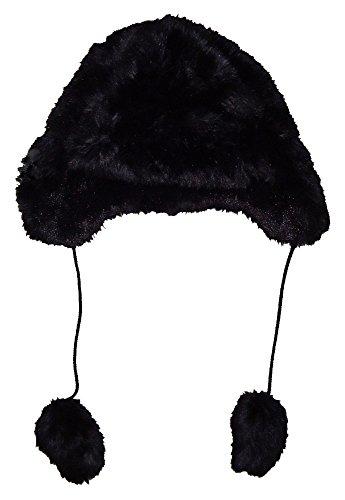 GAP Womens Black Faux Fur Pom Pom Trapper Hat S/M