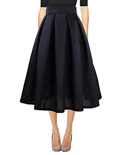 Vintage Jupes Haute A Mi lgante Longue Ligne Taille Jupe Noir Mode Femme Pliss Chic Jupe Quceyu 0qxO6tvwwX