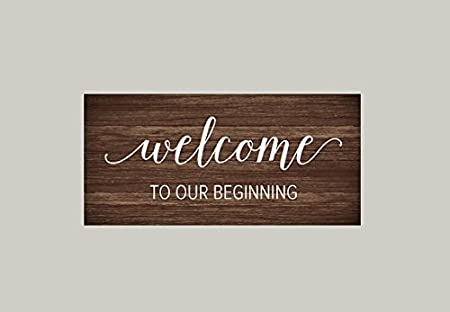 Wedding welcome vinyl decal welcome to our beginning decal wedding decals welcome vinyl