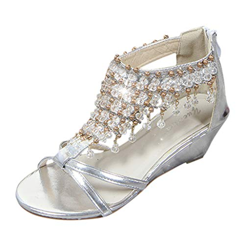- LOVOZO Sandals Women's Shoes Summer Wedge with Pearl Pendant Casual Shoes Silver