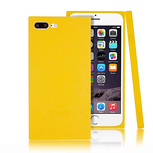 Clouds Compatible iPhone 7 Plus Case,iPhone 8 Plus Case Ultra Slim Lightweight Classic Square Design Durable Soft Rubber TPU Silicone Gel New Simple Case for Apple iPhone 7/8 Plus 5.5 inch-Yellow