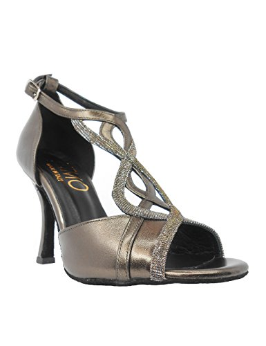 Salsa mit Schuhe Damen Absatz VL173 9 Tango cm Chromledersohle Rumba Ritmo Latein Tanz Tanzschuhe Bronze znZtCqwx
