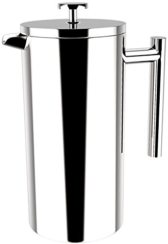 French Coffee Press (Stainless Steel) - Double Walled 32 oz Espresso & Tea Maker - 100% Stainless Steel - by Utopia Kitchen