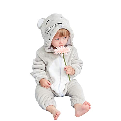 MICHLEY Newborn Baby Winter Hooded Romper Flannel Infant Jumpsuit Outfit, Mouse, 13-18months, Size 90]()
