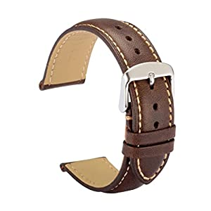 WOCCI Watch Bands 22mm Dark Brown Vintage Leather Watch Strap with Silver Metal Pins Buckle for Men or Women
