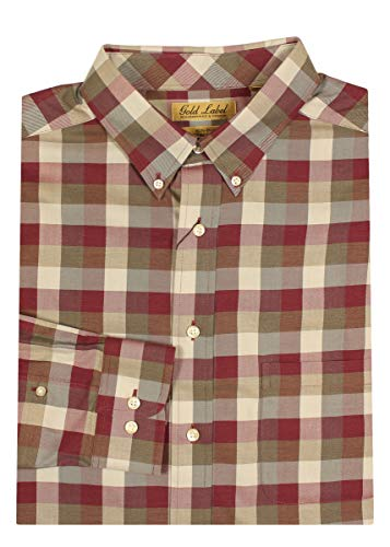 Gold Label Roundtree & Yorke Non-Iron Wrinkle-Free Men's Big Tall Dress Shirt (X-Large Tall, Wine Heather)