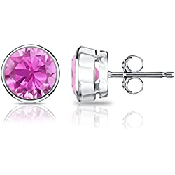 18k Gold Bezel Round Pink Sapphire Stud Earrings (1/2 cttw) Push-Backs