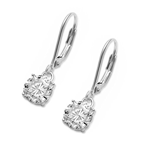 Sterling Silver Drop Dangle Round Cubic Zirconia Lever Back Earrings - 4mm