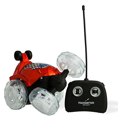 Red RC Remote Controlled Stunt Car with 360◦ Front Wheels