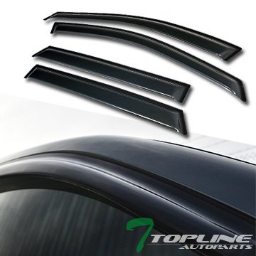 Topline Autopart Curved Style Sun Wind Rain Guard Smoke Vent Shade Deflector Window Visors 4PC For 13-16 Hyundai Santa Fe
