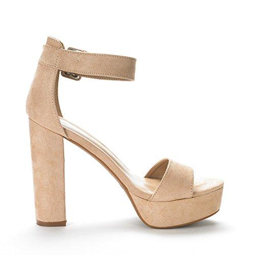 DREAM PAIRS Women's Hi-Lo Nude Suede High Heel Platform Pump Sandals - 9 M US