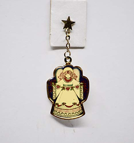 Christmas Angel Pin - Star Pin with Dangling Angel - Cloisonne - 2 Inches - Collectible