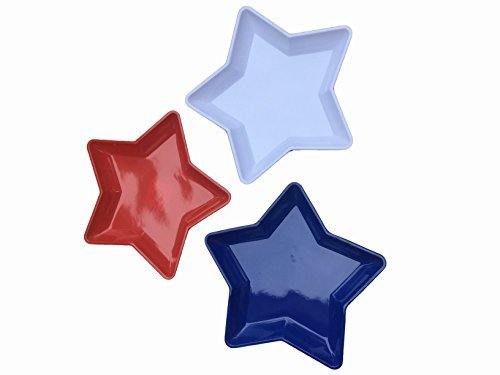 Shaped Serving Dish - Red, White and Blue Star Shaped Serving Tray: Set of 3 Patriotic 4th of July Party Serve Ware, Plastic, 12