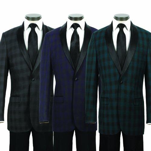 Men's Premium Unique Plaid Slim Fit 1 Button Shawl Tuxedo Jacket - Many Colors