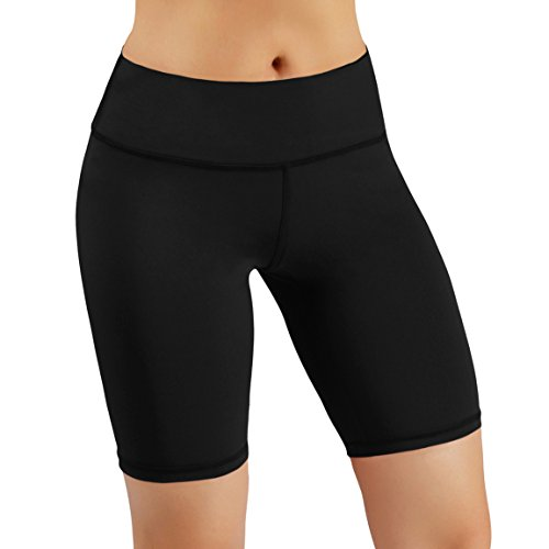 ODODOS Power Flex Women's Tummy Control Workout Running Shorts Pants Yoga Shorts With Hidden Pocket, Black, X-Large