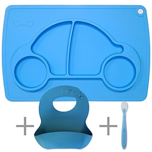 Silicone Baby Placemat with Plate, Bib and Spoon - Blue Car. Best Feeding Gift Set for Newborn, Toddler and Kids. Non-Slip, Suction Bowl = No Food Spill Mess. Food Grade BPA Free & FDA Approved
