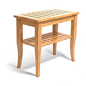 Deluxe Bamboo Shower Seat Bench With Storage Shelf Bathtub Shower Chair Stool