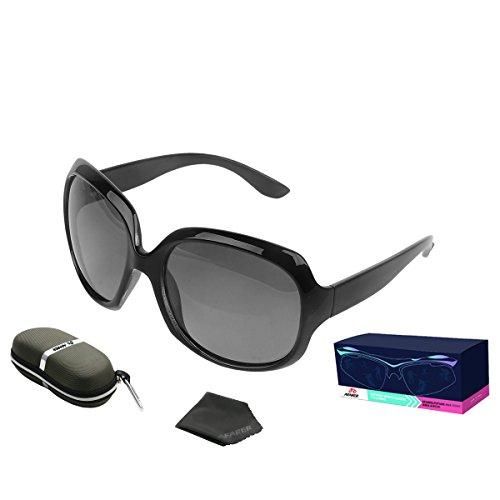 Price comparison product image AFARER Oversized Sunglasses for Womens Designer Polarized Sunglasses Fashion Sunglasses UV400 Protection Black