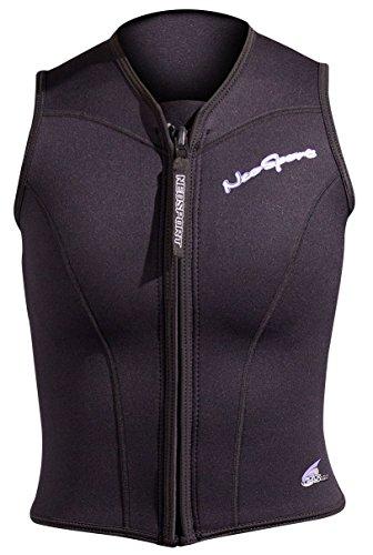 NeoSport Wetsuits Women's Premium Neoprene 2.5mm Zipper Vest, Black, 6 - Diving, Snorkeling & Wakeboarding