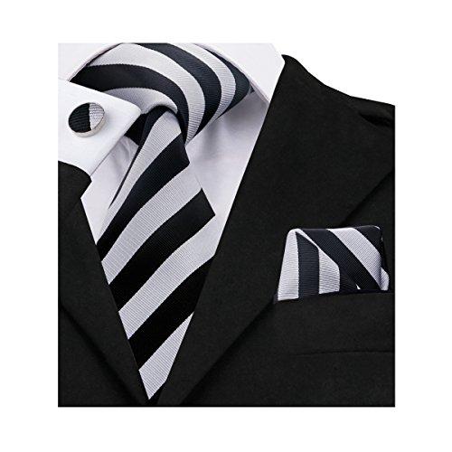 Barry.Wang Mens Tie Handkerchief Cufflinks Set Formal Business Grey Black (Cufflinks Stripes Necktie)