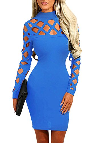 Byy Blue Hollow Out Long Sleeve Mock Neck Bodycon Dress Blue S