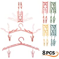 4 Pcs Portable Foldable Clothes Hangers with 8Pcs Hanger Clips - Highly Durable Non-slip Folding Clothes Drying Rack for Scarves Suits Trousers Pants Shirts Socks Underwear for Travel Home