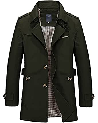 chouyatou Men's Classic Single Breasted Lightweight Belted Trench Coat X-Small Army Green