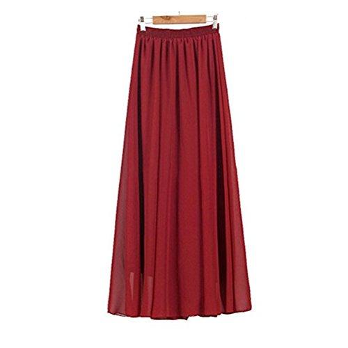 Varies Jupe Soie Taille lastique Patineuse Jupe en de Fonc Haute Femme Plisse Couleurs FuweiEncore Jupe Taille Longue Mousseline Rouge Double Couches wqA1aAxv