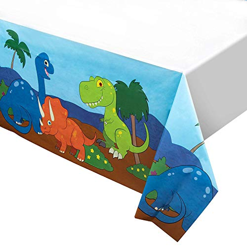 Dinosaur Plastic Tablecloth - 3-Pack Dino Party 54 x 108 Inch Table Cover, Fits Up to 8-Foot Long Tables, Dinosaur Birthday Party Supplies, 4.5 x 9 Feet]()