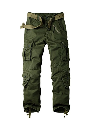 - OCHENTA Men's Cotton Military Cargo Pants, 8 Pockets Casual Work Combat Trousers #3357 Army Green 30