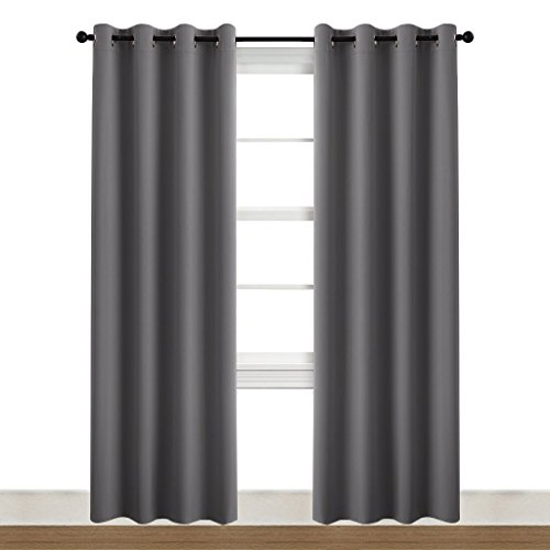 NICETOWN Blackout Curtain Panels for Living Room - (Gray/Grey Color) 52-inch x 84-inch, Pair of Noise Reducing Drapes Thermal Insulated Window Coverings wiyh Grommets by