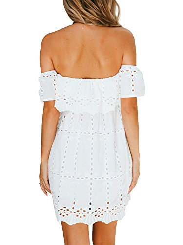 Embroidery Women's Out Off Lace BerryGo Dress White Shoulder Mini Hollow Casual zqxdWwfPR