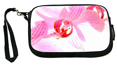 Rikki Knight Pink Orchid - Neoprene Clutch Wristlet Coin Purse with Safety Closure (Orchid Wristlet Pink)