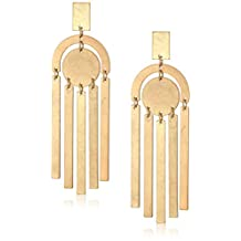 Panacea Women's Shiny Gold Art Deco Drop Earrings, Yellow, One Size